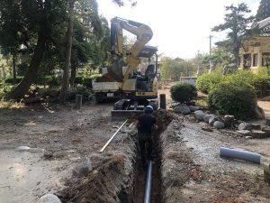 日長神社の下水道切替工事