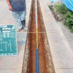配水管布設工事の出来形写真